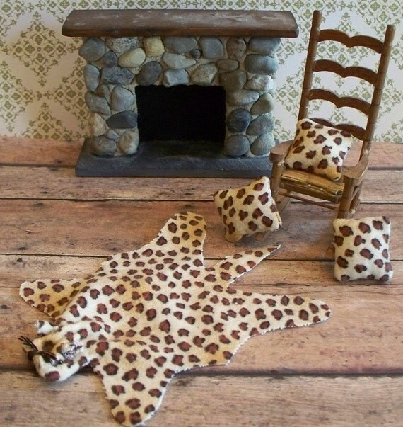 Throw Pillows With Matching Rug : Leopard Print Miniature Rug with Matching by ohsocuteminiatures