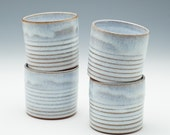 Four Snowy White Ribbed Cups - MADE TO ORDER