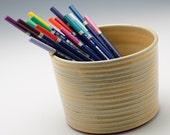 Creamy Yellow Ribbed Brush/Pencil/Knitting Needles Caddy/Vase