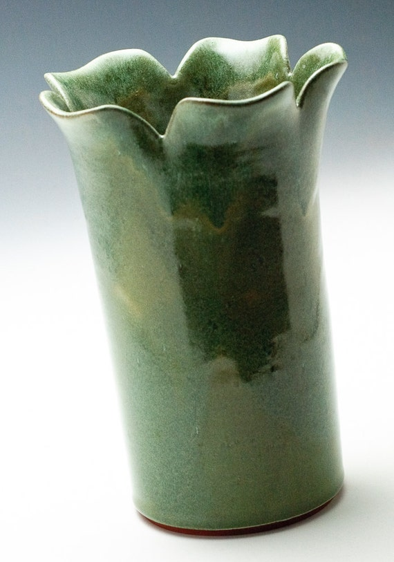 Golden Green  Flower  Vase/Brush Holder/Knitting Needle Holder