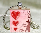 Scrabble Tile Necklace - Scrabble Jewelry - Pink Heart Trio Scrabble Tile Pendant with Necklace and Matching Gift Tin