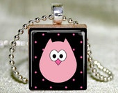 Scrabble Tile Necklace - Scrabble Tile Pendant - Lil Pink Owl Scrabble Tile Pendant with Necklace and Matching Gift Tin