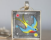 Swallow Tattoo Silver Pendant with Necklace and Matching Gift Tin - Silver and Resin Art Pendant - Photo Pendant Charm