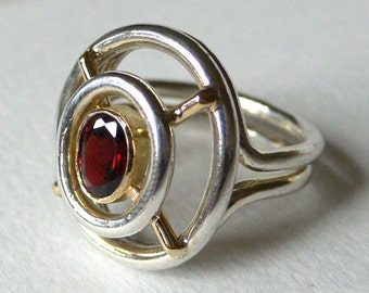 SALE Dreamcatcher Ring in Silver, 18k Gold and Garnet