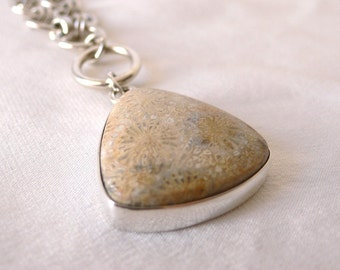 SALE - JumpRings Drop Necklace with Picture Jasper