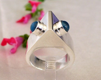 Triangle Ring with Blue Topaz - Size 6