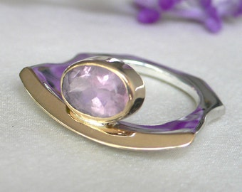 SALE Pink Tourmaline, Silver & 18k Gold Modern Organic Ring