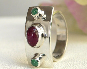 Ruby and Emerald Silver Platform Ring