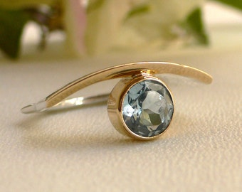 Modern Organic Ring with Blue Topaz, Silver and 18 karat Gold