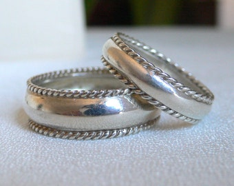 His & Hers Domed Silver Wedding Bands with Braided Edges - this listing is for two rings