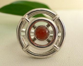 SALE - Modern Dreamcatcher Ring in Silver with Bullet shaped Carnelian