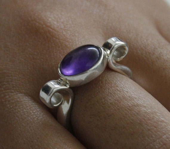 SALE - Amethyst Curled Ring in Sterling Silver