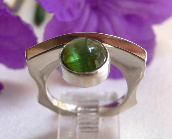 Green Tourmaline & Silver Modern Organic Ring