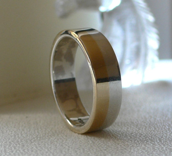 14 Karat Gold and Silver Wedding Band - His and Hers