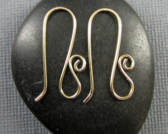 Handmade Gold Filled Artisan Ear Wires-Long Swans 1 pair