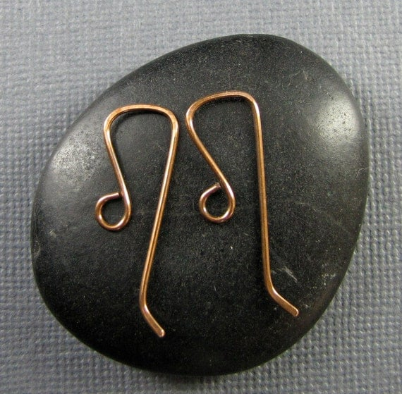 Handmade Copper Artisan Ear Wires-Squared Off 3 pair