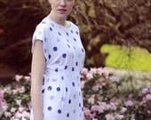 Sample SALE Hand Printed Polka Dot Dress Small