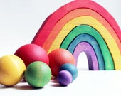 Shoot for the Rainbow Play Set - a Montessori and Waldorf inspired Table Top Bowling and Croquet Game