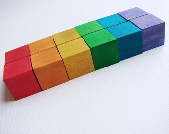 Rainbow Blocks Starter Set - A Montessori and Waldorf Inspired Wooden Materials Learning Toy
