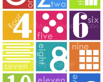 Number Chart Modern Art - Modern Montessori Home and Nursery Art