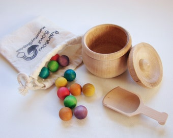 Rainbow Bowl - A Montessori and Waldorf Inspired Wooden Materials Kitchen Learning Toy