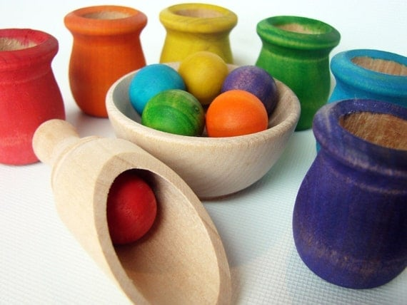 Colored Cups and Balls - Montessori Material Waldorf Inspired Wooden Toy