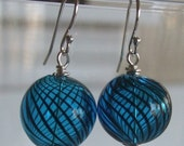 Blue Globe Glass Earrings