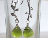 Sterling Silver Branch Earrings with Green Swarovski Crystal Drops