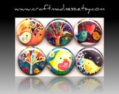 Hearts, Birds, Trees, button magnets or pinbacks, magnabilities, decorative watercolor art