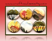 Mountains, Trees, Birds, Doe, nature, button magnets or pinbacks, magnabilities, decorative watercolor art