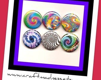 Fractal Art decorative one inch button magnets, magnabilities compatible, jewelry, pendant, necklace, ring