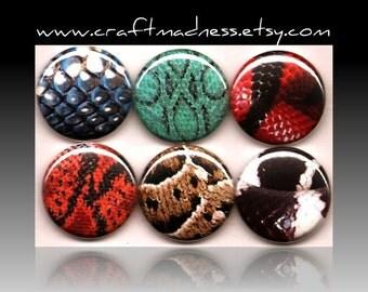 Snakeskin, blue, green, orange, red, black, button magnets or pinbacks, magnabilities, decorative art, jewelry