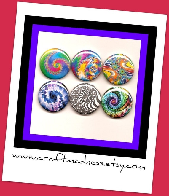 Fractal Art decorative one inch button magnets, magnabilities compatible, jewelry, necklace, pendant, ring