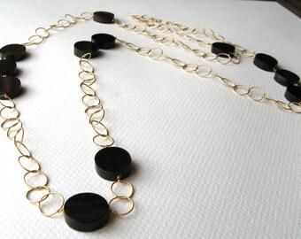 TIGER EBONY- long 14k goldfill and tiger ebony wood necklace