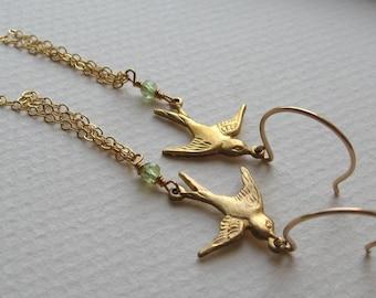 SOAR- sparrow charm and peridot earrings