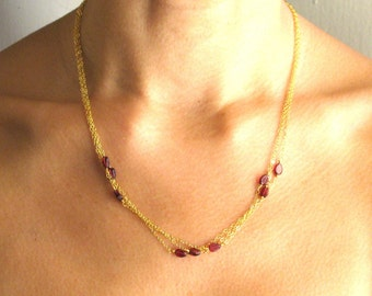 AMELIE necklace- garnet and 14k goldfill necklace