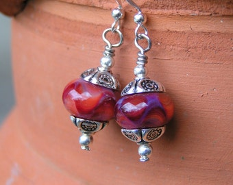 American Beauty Lampworked Earrings and Ring