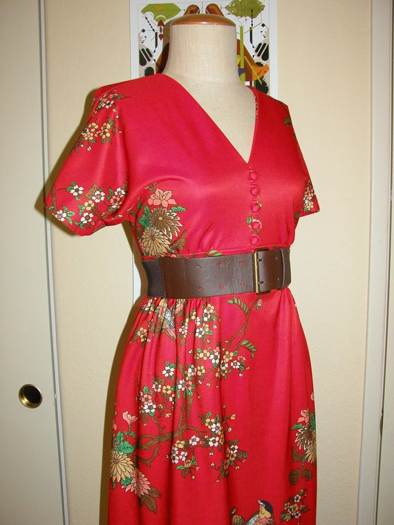 CLEARANCE 60s Sakura Cherry Blossom & Bird Print Dress