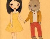 Nursery Art, Children's Art, Girls Room Art, Girl Art Print, Art for Children, Poster, Bunny, Art for Kids - The Golden Afternoon 8x10 Print