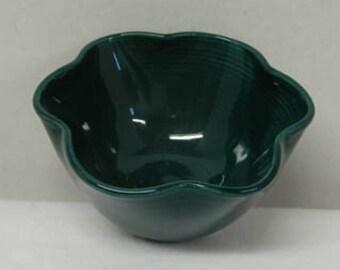 Dark Blue Green Porcelain Flower Bowl