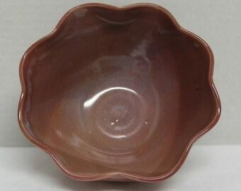 Rich Rose Pink Porcelain Flower Bowl