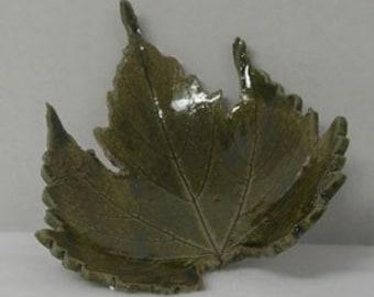 Temmoku Grape Leaf Imprinted Shallow Bowl