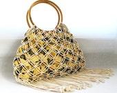 Vintage Cotton Macrame Tote, wood beads, fringe bamboo handles, pineapple print