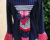 "Ladies USA Medium Upcycled Cotton Fairy Hoodie - ""Go USA"""