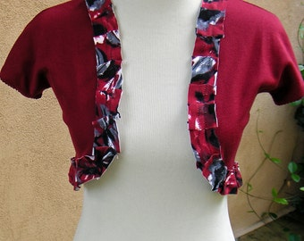 Women's Upcycled XS Bolero Sweater Caplet- Scarlet Sunset