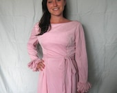 Low Back Pink 60s Cocktail Dress with Ruffles, Bows and Cinched Waist, Size Medium