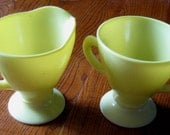 Vintage Lemon Yellow Sugar and Creamer Set - Hazel Atlas Ovide Sierra