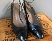 Black Leather and Patent Newton Klein Slingbacks Size 9.5AA