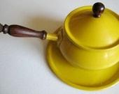 Fabulous Bright Mustard Yellow Fondue Pot and Tray