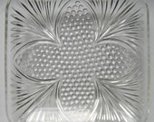 Pressed Glass Dish with Flower Motif